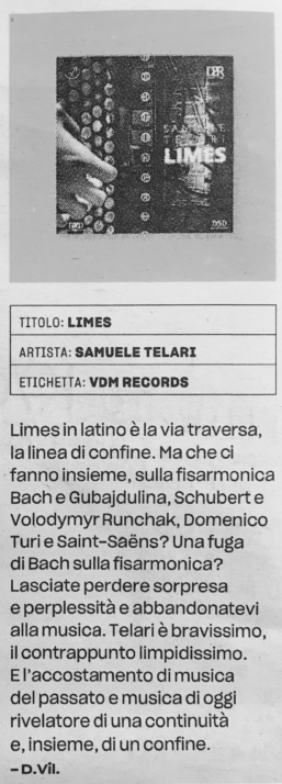 Recensione del cd limes di samuele telari uscita su repubblica di dino villatico